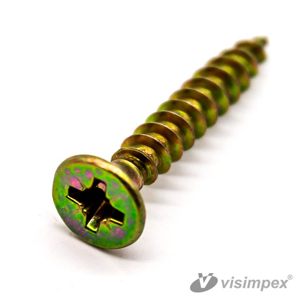 Chipboard screw with countersunk head (yellow)
