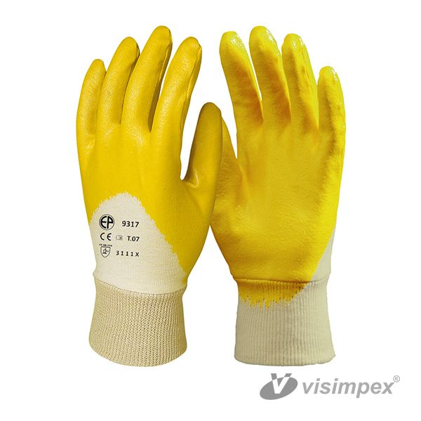 Yellow nitryl glove with ventilating back