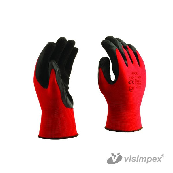 Red latex gloves with palm dipping
