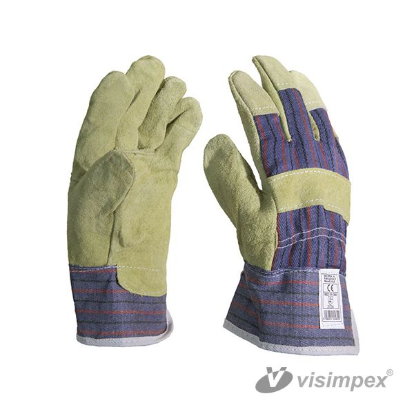 Protective glove with grey ox slit yellow