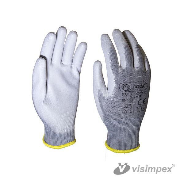 Grey PU palm dipped mounting glove